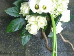 Ellen Deelen natuurlijke Bloem - creaties bloemstuk van o.a. witte Gerbera en witte Calla vanaf €22.50_408x800